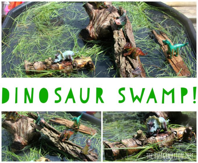 Dinosaur swamp sensory play tray for preschoolers