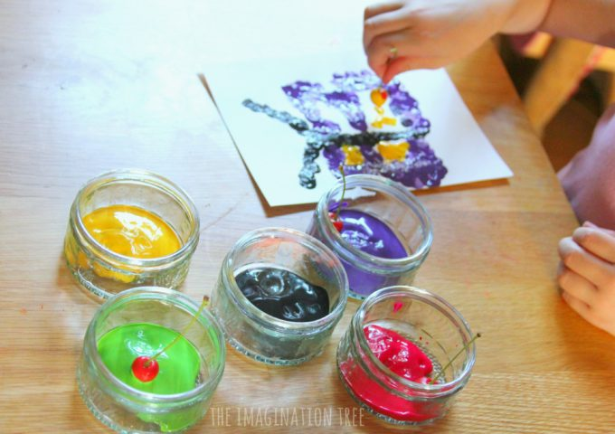 Dot painting with cherries! Fun art activity for kids