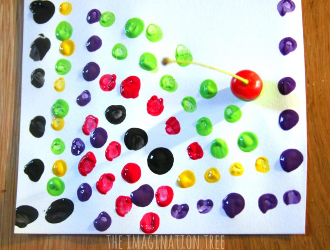 Dot printing with cherries and paint!