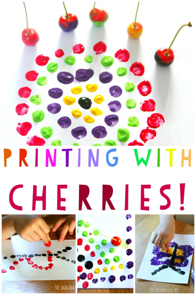 Kids art activity printing with cherries!
