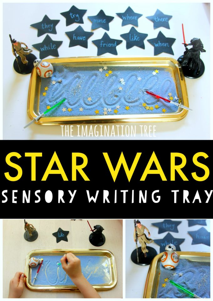 Make learning fun with this star wars themed sensory writing tray for kids!