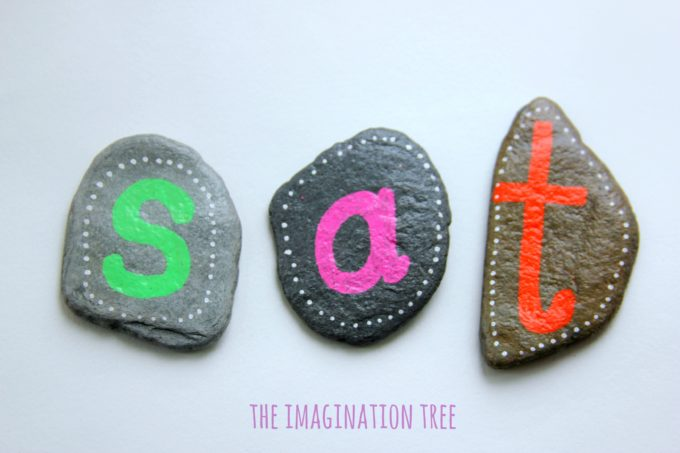 Making sight words with DIY alphabet pebbles