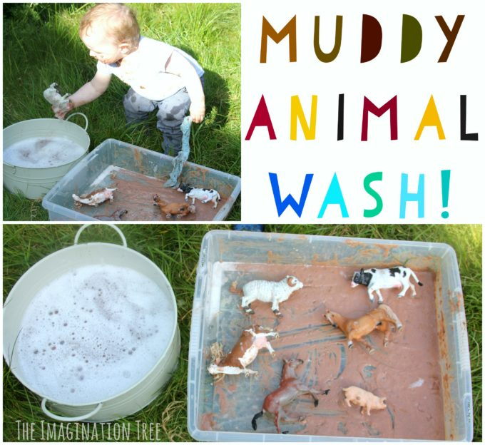Wash the Muddy Farm Animals Sensory Play