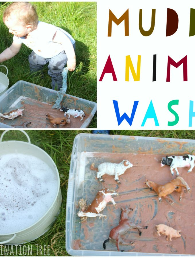 Muddy animal wash! Tasty sensory play for babies and toddlers