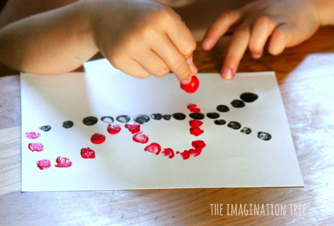 Print pictures using cherries dipped in paint!