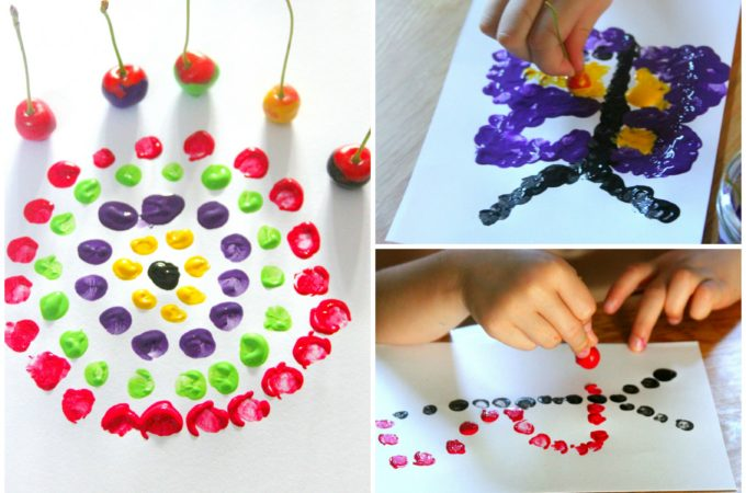 Printing with cherries dot painting art for kids!