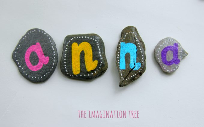Spell names with alphabet pebbles!
