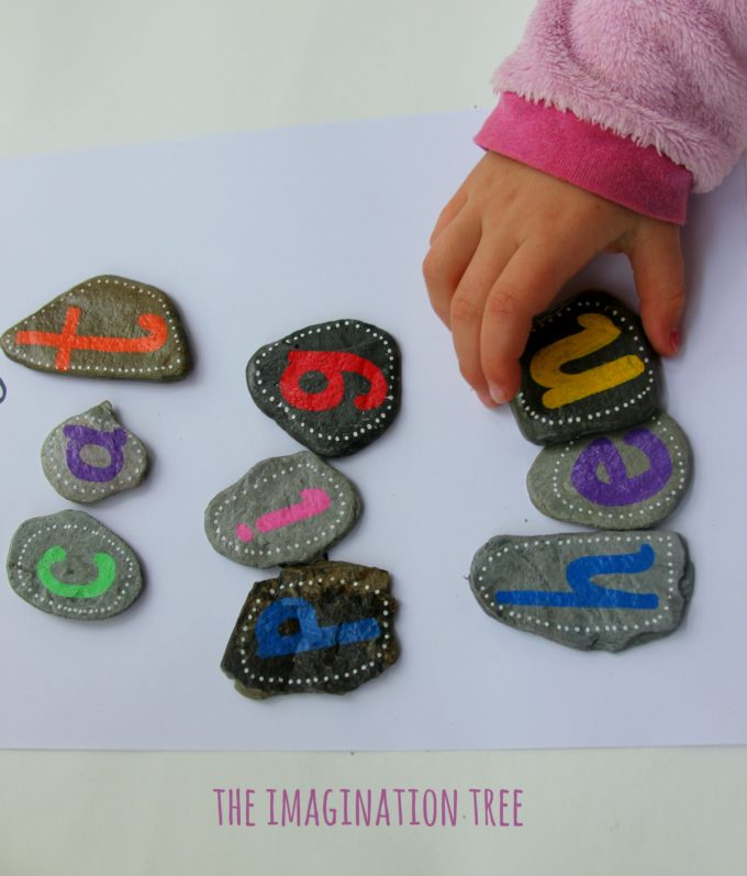 Spelling sight words with alphabet rocks!