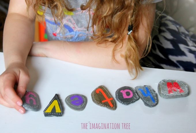 Spelling words with alphabet pebbles