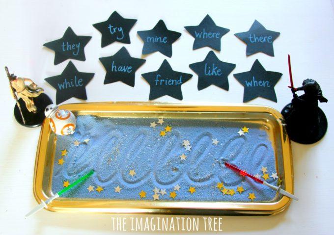 Star Wars sensory writing tray for kids!