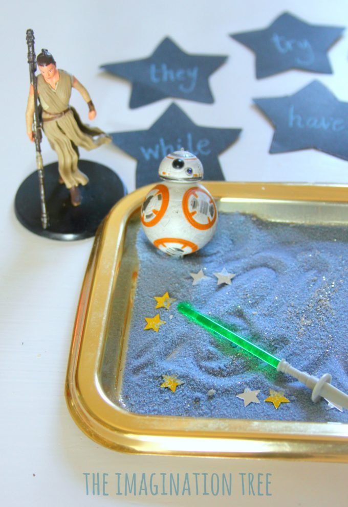 Star Wars themed sensory writing tray literacy activity for kids