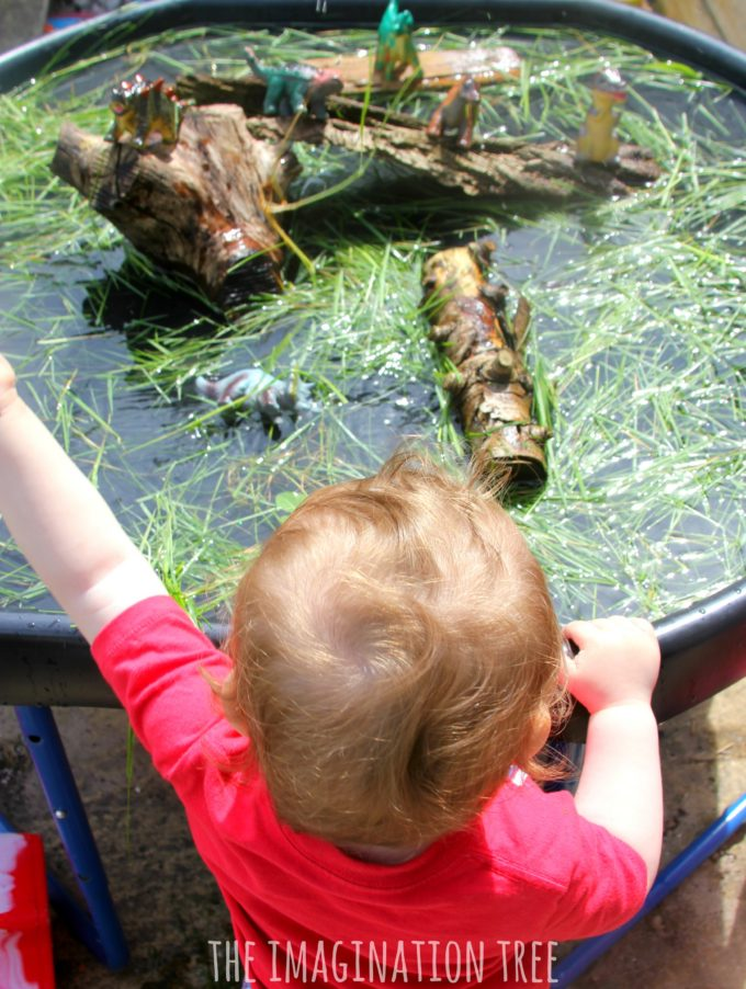 Water play ideas dinsoaur swamp sensory play