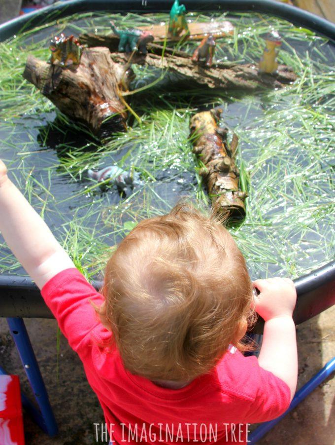 Water play ideas dinsoaur swamp sensory play