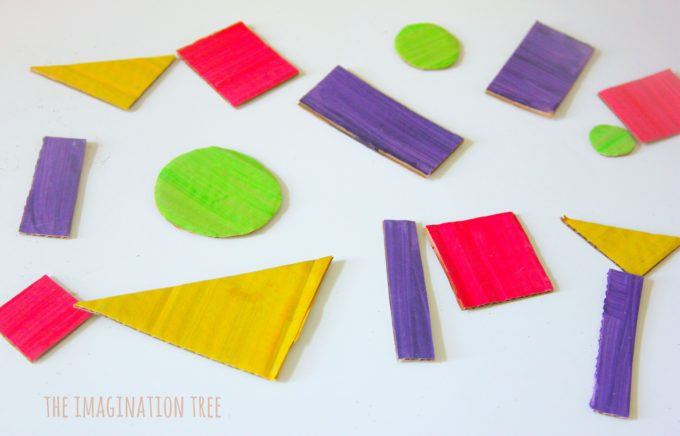 DIY cardboard monster shape sorting game