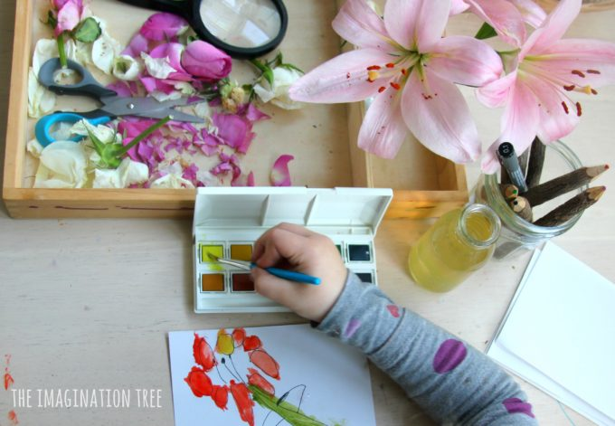 Drawing and painting flowers with preschoolers