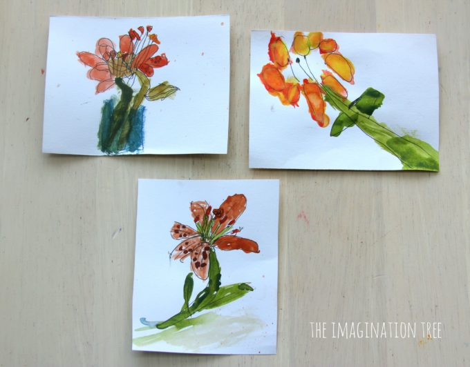 Drawing flowers with watercolours and ink kids art
