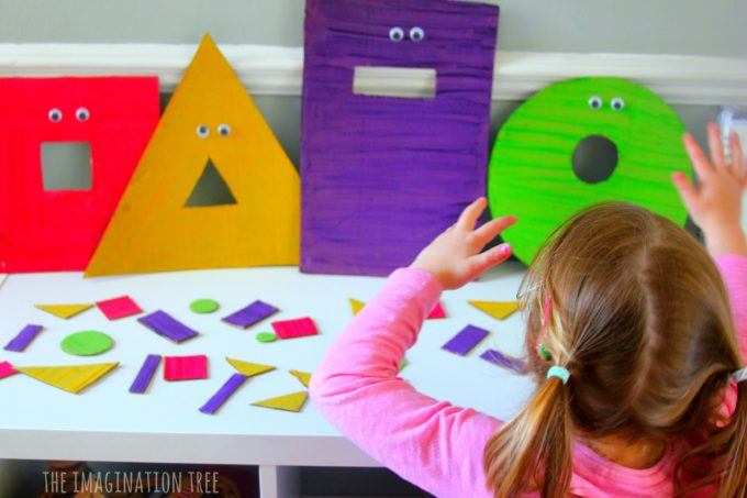 Feed the monsters shape sorting game for preschoolers!