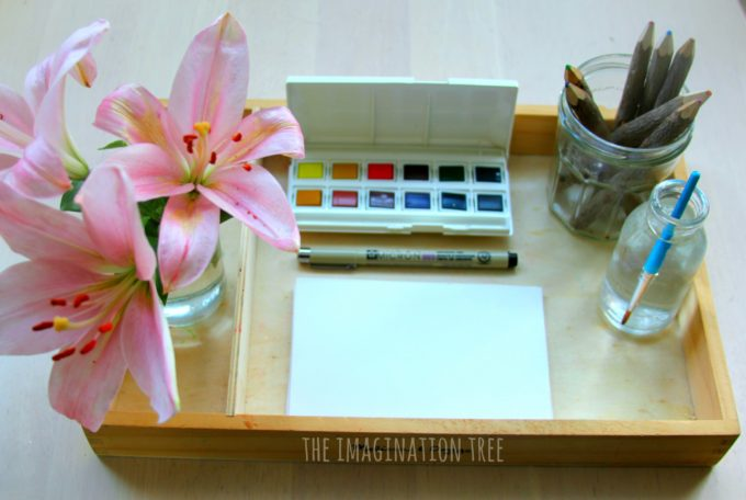 Invitation to draw and paint flowers