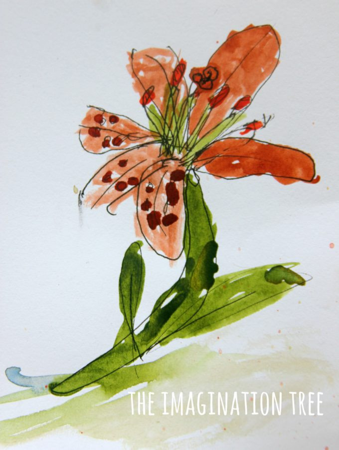 Pen and watercolour paintings with kids!