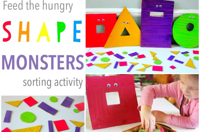 Shape sorting game for toddlers feed the hungry shape monsters!