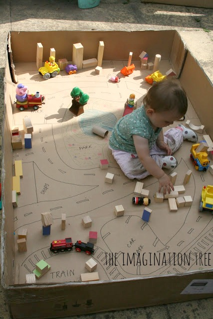 Cardboard box town imaginative play for kids!