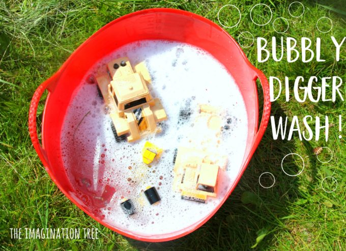 Bubbly digger wash sensory play for babies and toddlers!