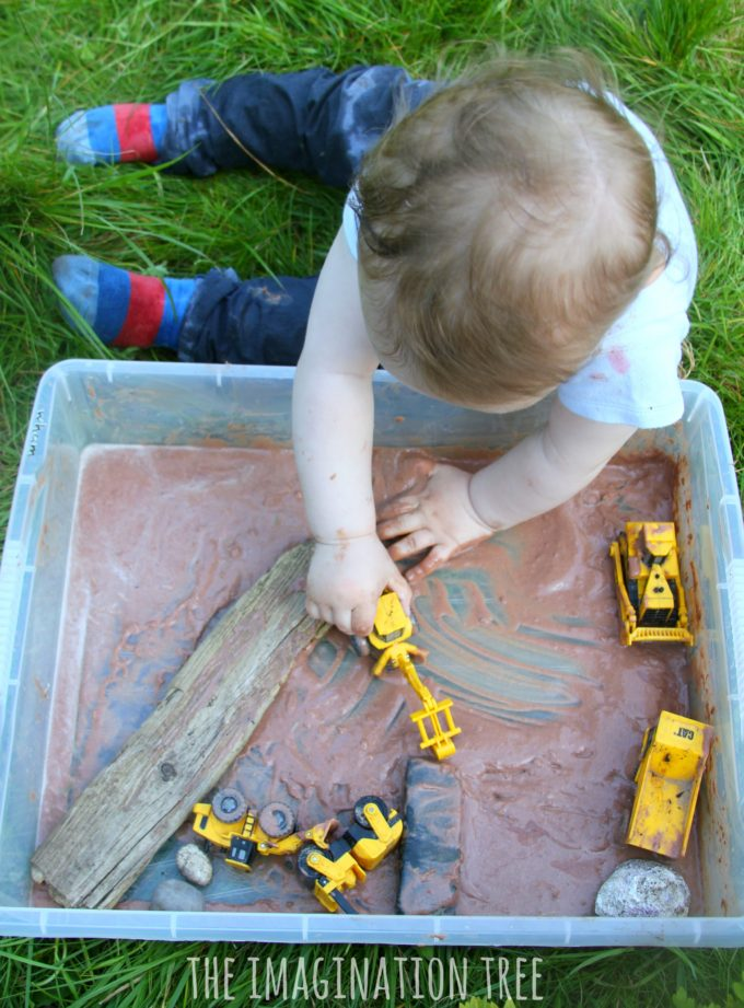 Diggers in edible mud sensory play!