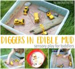 Diggers in Edible Mud Sensory Play