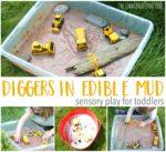 Diggers in Edible Mud Sensory Play