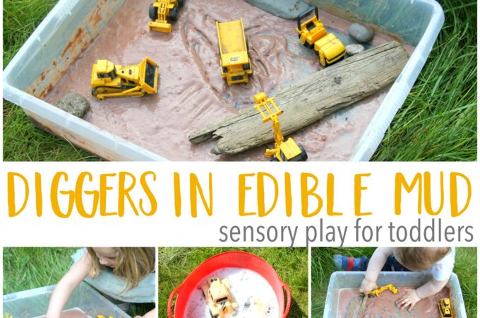 Diggers in edible mud sensory play for babies and toddlers!