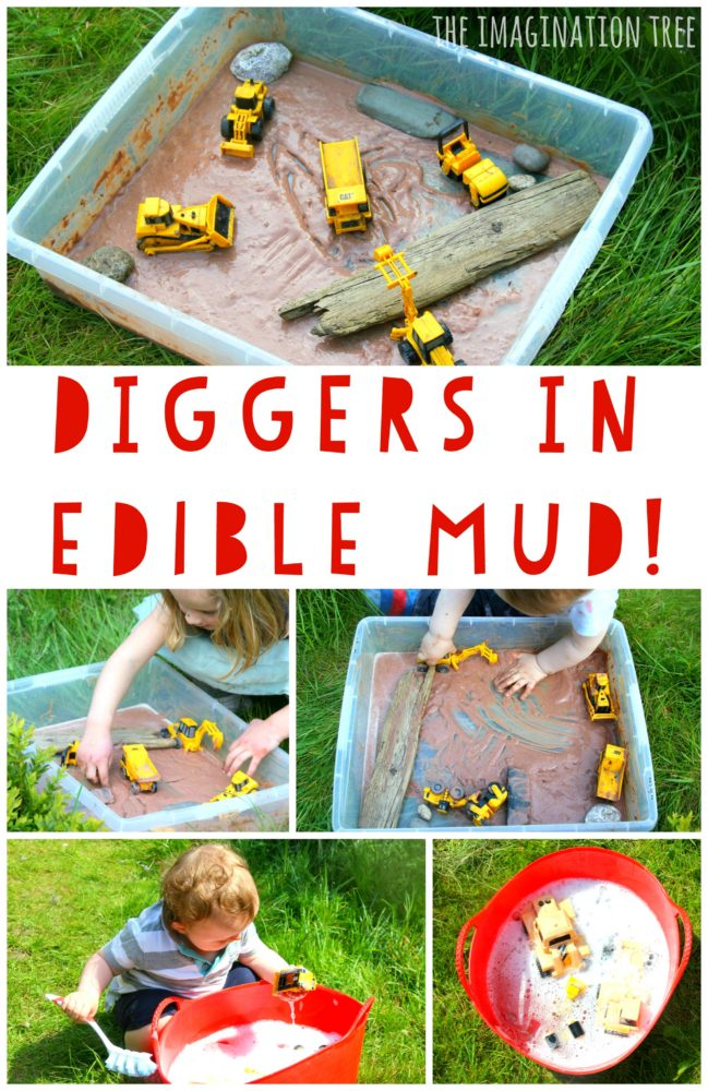 Diggers in the edible mud sensory play tray for toddlers