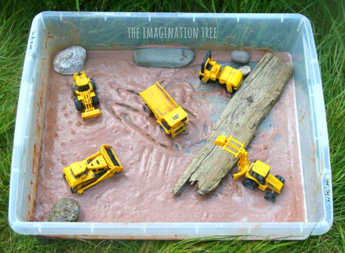 Diggers in the mud sensory play for babies