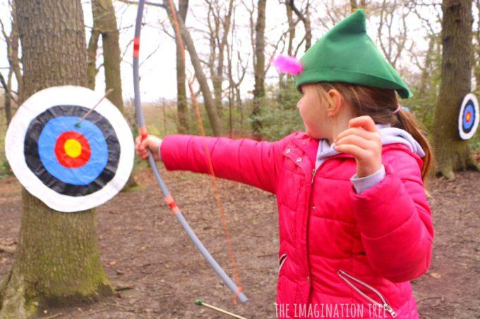 Shooting a DIR bow and arrow at a DIY target!