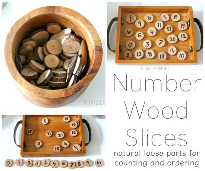 Wooden Number Slices for Maths Play