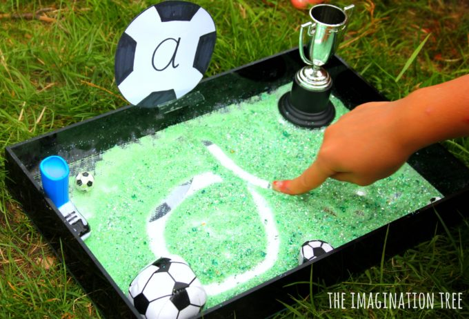 Learn to write with a soccer sensory writing tray!