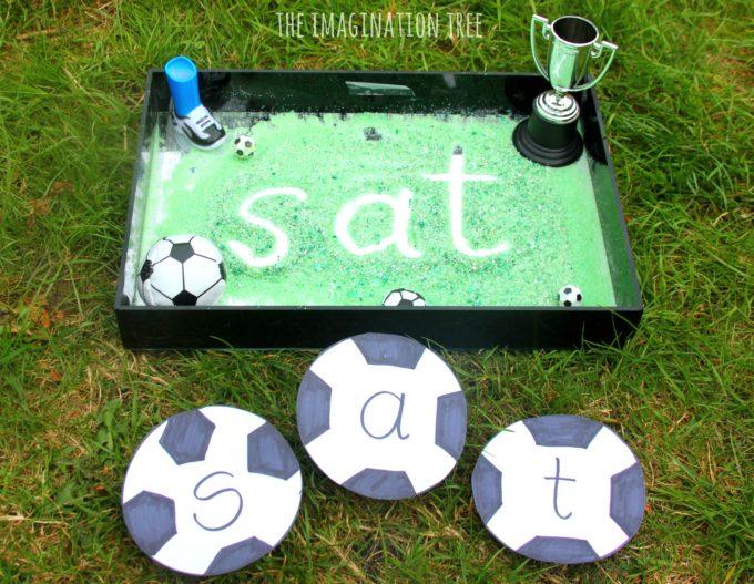 Soccer sensory writing tray