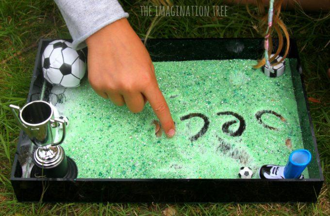 Soccer sensory writing tray learning activity