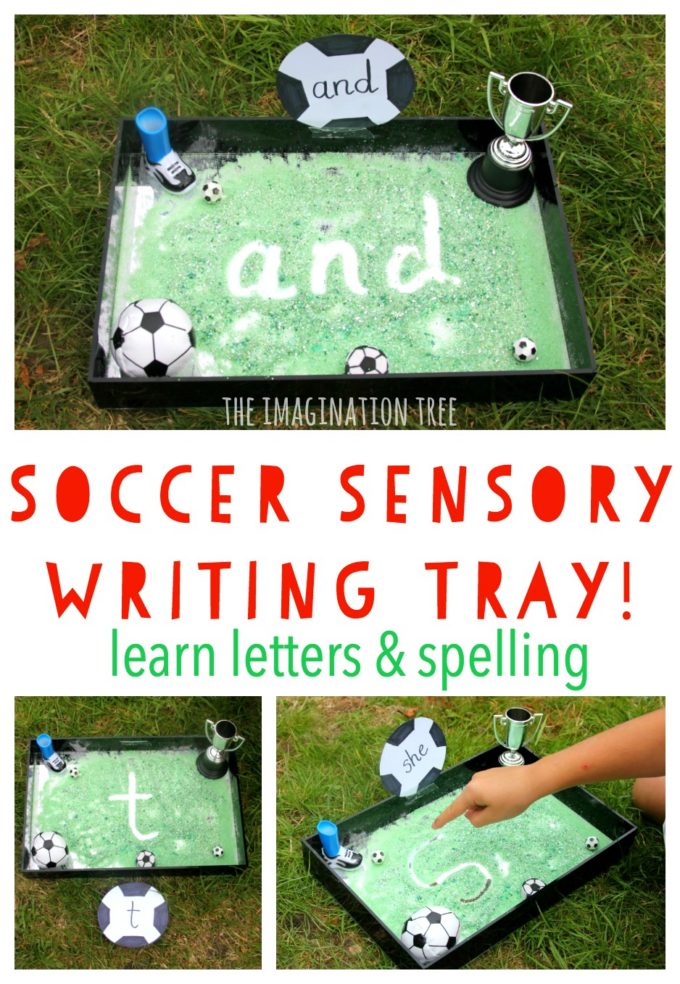 Soccer Sensory Writing Tray - The Imagination Tree
