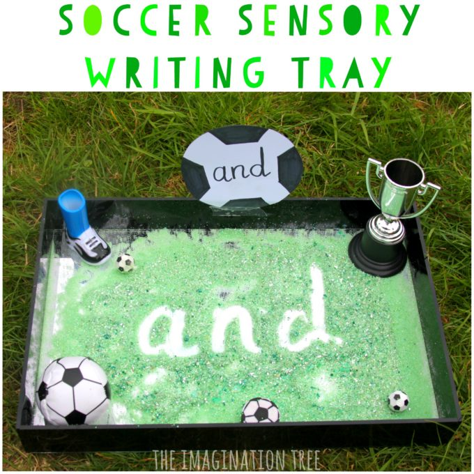 Soccer writing tray activity for kids!