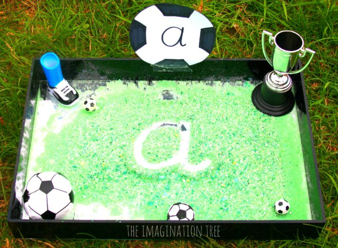 Soccer writing tray for kids!