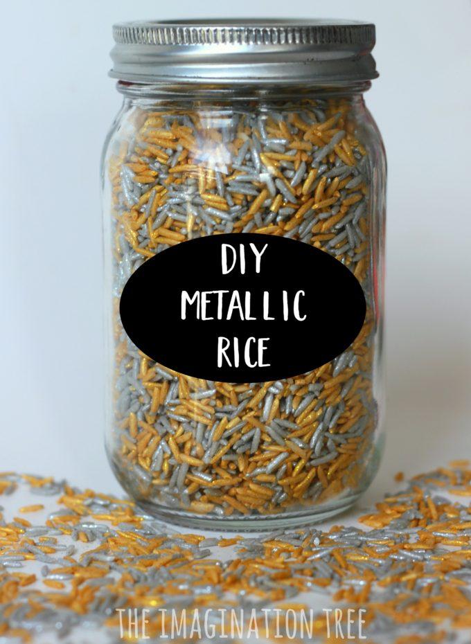 DIY metallic rice for sensory play and art