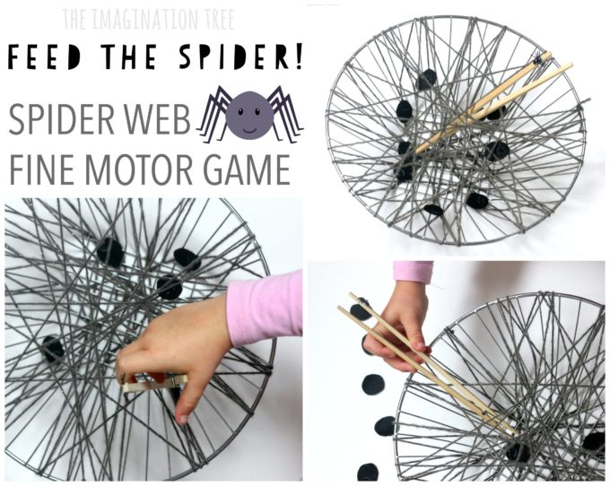 Feed the spider web fine motor game for kids!