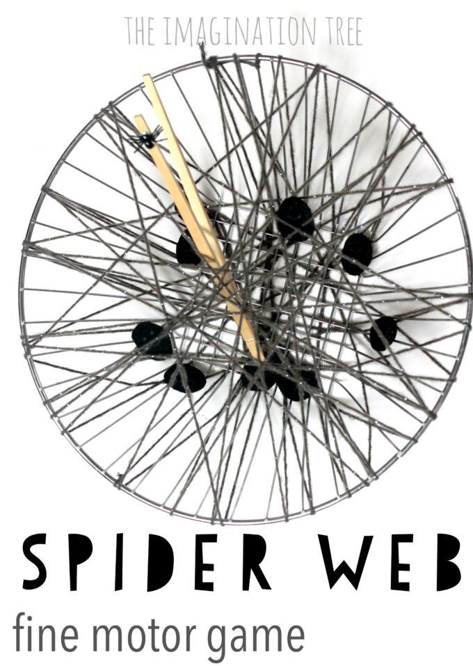 Spider web fine motor activity for kids!