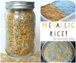 How to Dye Metallic Rice for Sensory Play