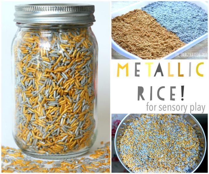 How to Dye Metallic Rice for Sensory Play