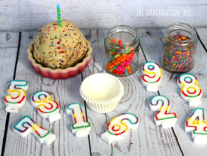 Cupcake counting activity with birthday cake play dough and number candles!