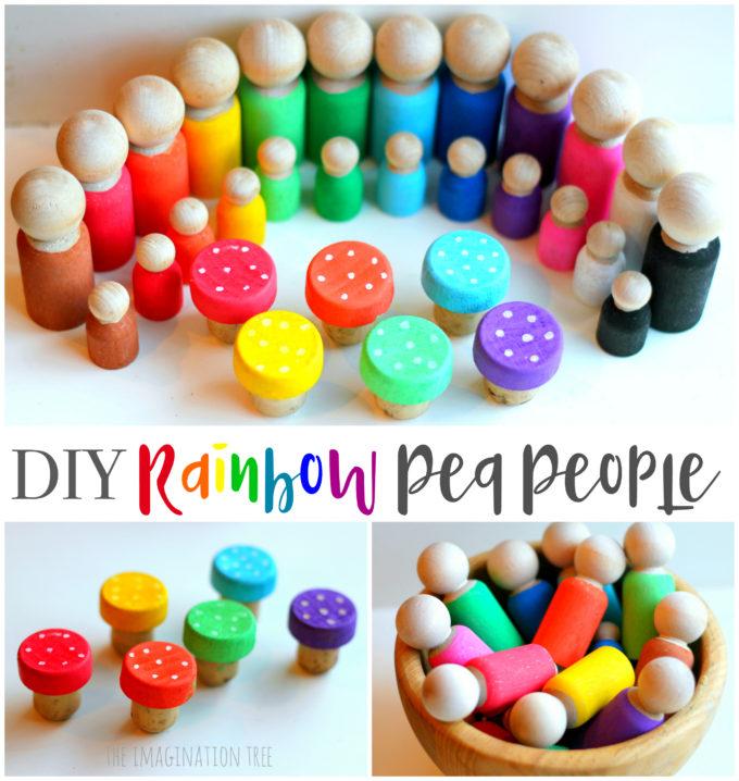 DIY Rainbow Peg People & Toadstools