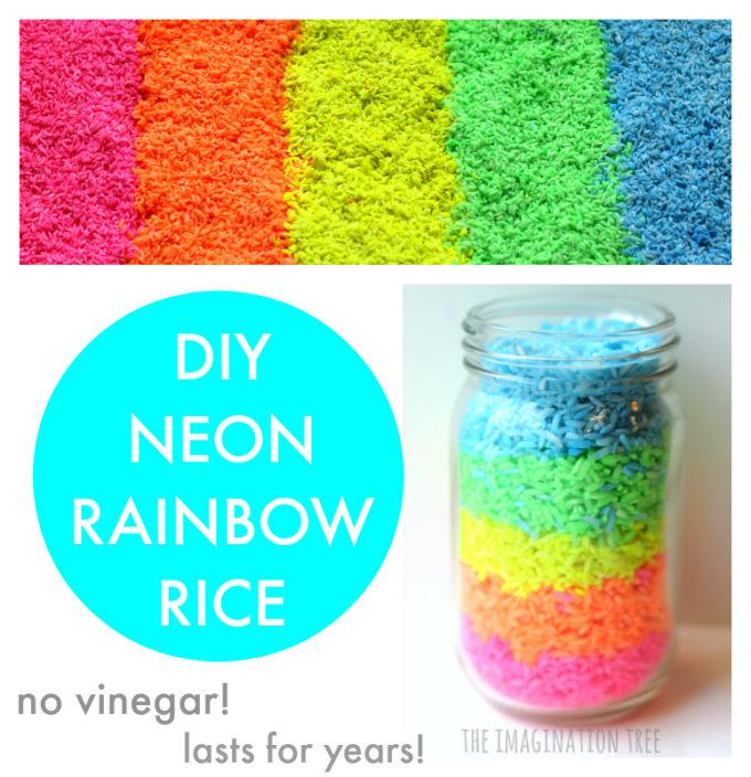DIY Neon Rainbow RIce