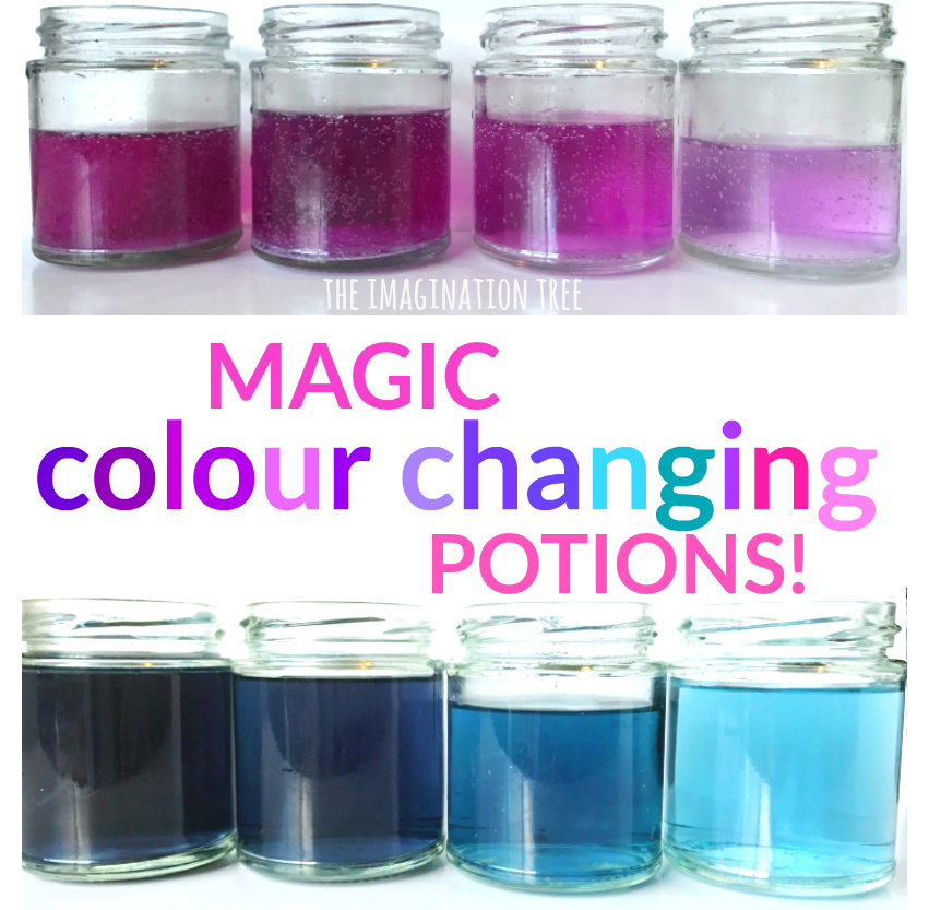 Classroom Experiment Ideas ~ Magic colour changing potions science activity the