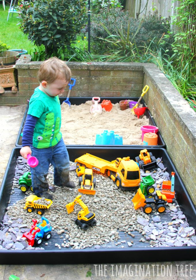 Outdoor Construction Toys : Diy sand box and gravel pit the imagination tree
